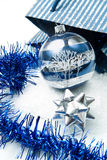 Blue and silver christmas decorations Royalty Free Stock Photography