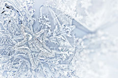 Blue silver Christmas decorations Stock Photo