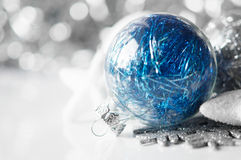 Blue and silver christmas decorations on holiday b Stock Photo