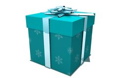 Blue and silver christmas gift Royalty Free Stock Images