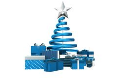Blue and silver christmas gifts Royalty Free Stock Images