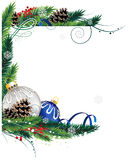 Blue and silver Christmas ornaments Royalty Free Stock Photography