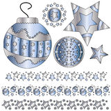 Blue and silver Christmas ornaments. And trims over white background Royalty Free Stock Image