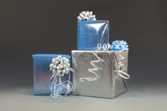 Blue and silver christmas presents Stock Image