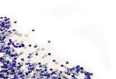 Blue and silver confetti Royalty Free Stock Photography