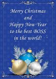 Christmas and New Year greeting card for the boss. Blue and silver corporate greeting card for the boss: Merry Christmas and Happy New Year to the best boss in stock illustration