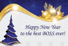 Blue and silver corporate New Year greeting card for the boss. Happy New Year to the best boss ever royalty free illustration
