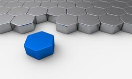 Blue silver 3d brick concept. 3d Illustration hexagon brick concept Royalty Free Stock Photography