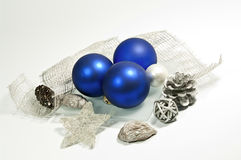 Blue and silver decoration. Christmas decoration in blue and silver Stock Photography