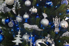 Blue and silver decorations of christmas tree Stock Photos