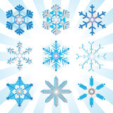 Blue and silver detailed snowflakes variations Royalty Free Stock Images