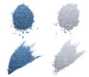 Blue & silver eye shadows. Blue & silver  samples on the white background Royalty Free Stock Image