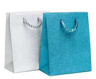 Blue and silver gift bags Stock Image