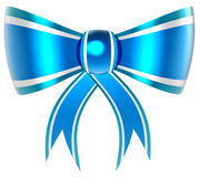 Blue with silver gift bow Royalty Free Stock Photos