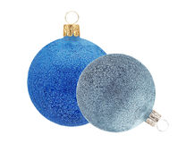 Blue and Silver Glitter Christmas decor ball isolated on white Stock Images