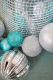 Blue and silver glittery Christmas ornaments Stock Images