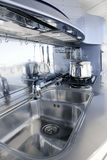 Blue silver kitchen modern architecture decoration Royalty Free Stock Photo