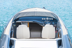 Blue silver luxury power boat cockpit Royalty Free Stock Photos