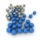 Blue and silver marbles Stock Image