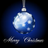 Blue silver merry christmas ball Royalty Free Stock Image
