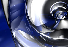 Blue&silver metall 07. A Study of Form&Colors, rendered in Bryce Royalty Free Stock Photos