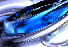 Blue&silver metall. A Study of Form&Colors, rendered in Bryce Royalty Free Stock Image