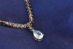 Blue silver necklace Stock Photo