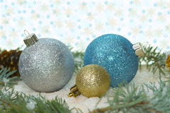 Blue and Silver Ornaments Stock Photo