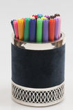 Blue and silver pen holder Royalty Free Stock Photo