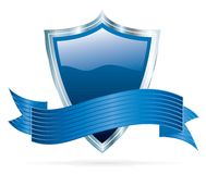 Blue silver shield Stock Photo