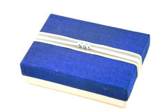 Blue and silver silk box. Stock Images