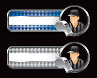 Blue and silver tabs with referee and whistle Royalty Free Stock Image
