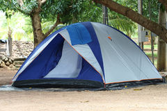 Blue and Silver Tent in Tropics. A blue and grey tent in a tropical environment under two mango trees with black tarp under tent and blue towel draped over rain Royalty Free Stock Photos