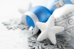 Blue and silver xmas decoration. Blue and silver christmas decoration Royalty Free Stock Image