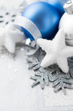 Blue and silver xmas decoration Stock Photo