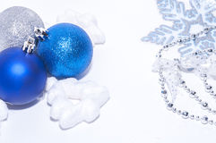 Blue and silver xmas decoration with copy space royalty free stock image
