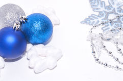 Blue and silver xmas decoration with copy space Stock Images