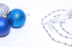 Blue and silver xmas decoration with copy space Stock Photo