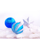 Blue and silver xmas decoration Royalty Free Stock Photo