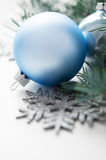 Blue and silver xmas decorations Royalty Free Stock Photos