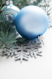 Blue and silver xmas decorations Stock Photos