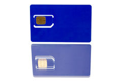 Blue SIM card with reflection Stock Images