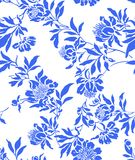 Blue simless. Seamless white background with randomly distributed blue posies Stock Images