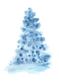 Blue simple Christmas tree Royalty Free Stock Photography