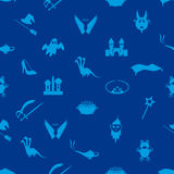 Blue simple fairy tales theme seamless pattern Stock Photo