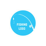 Blue simple fishing logo Royalty Free Stock Photo
