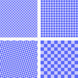Blue simple pattern set. Blue simple checked, dot, triangle pattern set Stock Images