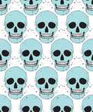 Blue simple skull seamless pattern Royalty Free Stock Photo