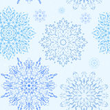 Blue simple  snowflake seamless pattern. Blue and white  snowflake seamless pattern, elegant illustration with mandala Royalty Free Stock Image
