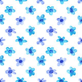 Blue simple watercolor flowers Stock Photography